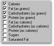 Customize the Nutritional Analysis